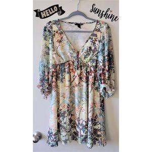 H&M Watercolor Floral print Babydoll Boho Dress 10